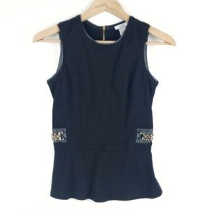 Cache Peplum sleeveless top Vintage gold accents
